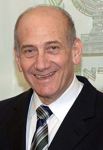 Ehud Olmert - Image: Flickr Government Press Office (GPO) P.M. Olmert with Shahar Peer and Udi Gal (cropped) (cropped)