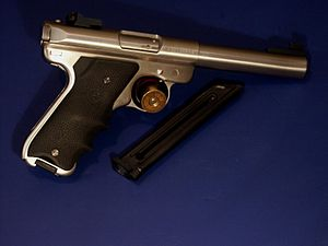 Ruger MK III - Stainless steel Ruger Mark III with magazine.