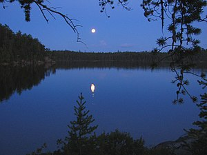 Lady Evelyn-Smoothwater Provincial Park - Moon over Florence Lake