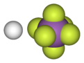Canonical, spacefill model of fluoroantimonic acid