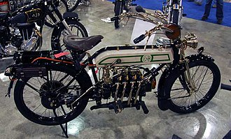History of the motorcycle - A 1913 FN (Fabrique National), Belgium, 4 cylinders and shaft drive