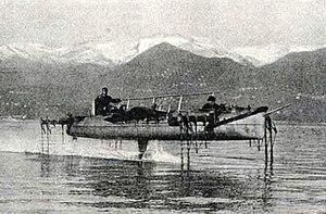 Hydrofoil - Forlanini's hydrofoil over Lake Maggiore, 1906