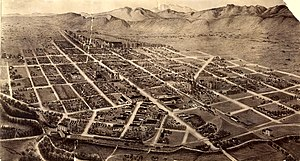 Fort Collins, Colorado - Nineteenth-century bird's-eye view of Fort Collins