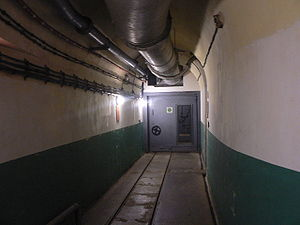 Maginot Line - Corridor inside the Fort Saint-Gobain near Modane in the Alps. The Decauville