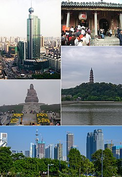 Clockwise from top right: Zumiao of Foshan, Qingyun Tower in Shunfengshan Park, Statue of Guanyin on top of Xiqiaoshan, & Downtown Foshan in Chancheng District