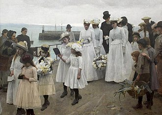 1891 in art - Image: Frank Bramley Kingdom Of Heaven 1891