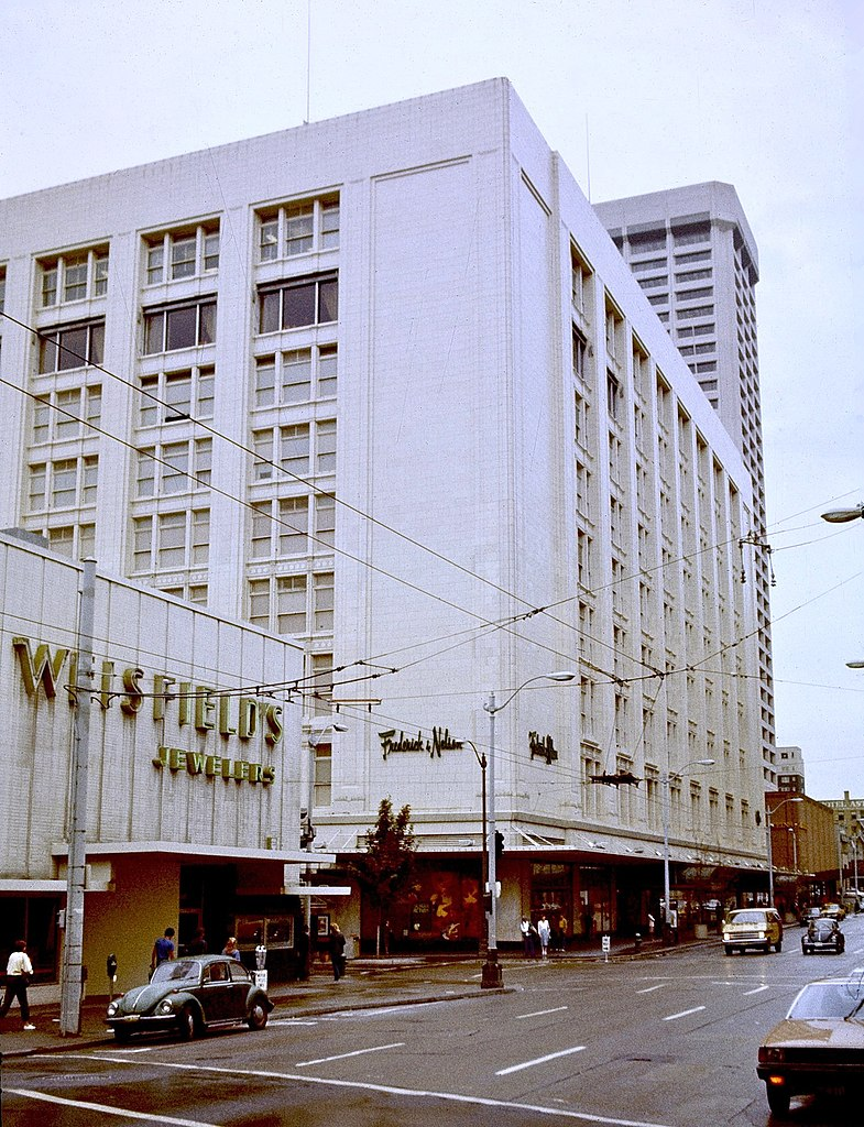 The New Cadillac >> File:Frederick & Nelson flagship store, Seattle, 1982.jpg