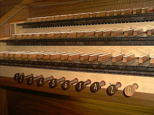 Registration (organ) - Combination pistons (buttons) on the organ console