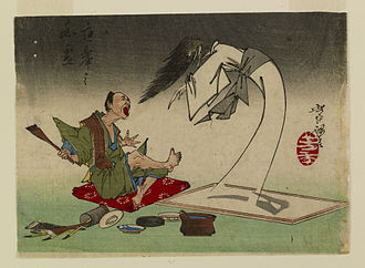 "Maruyama Ōkyo - Maruyama Ōkyo by Tsukioka Yoshitoshi. Maruyama Okyo was well known for his true-to-life paintings. The story, illustrated by this print, tells of the time Okyo painted a ghost so ""realistically"" that it came to life and frightened him."