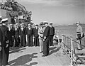GENERAL CATROUX VISITS ADMIRAL CUNNINGHAM ON BOARD THE FLAGSHIP HMS QUEEN ELIZABETH. 24 JANUARY 1942, ALEXANDRIA. GENERAL CATROUX, FREE FRENCH DELEGATE GENERAL TO BRITISH HQ CAIRO, PAID A COURTESY VISIT TO THE A8007.jpg