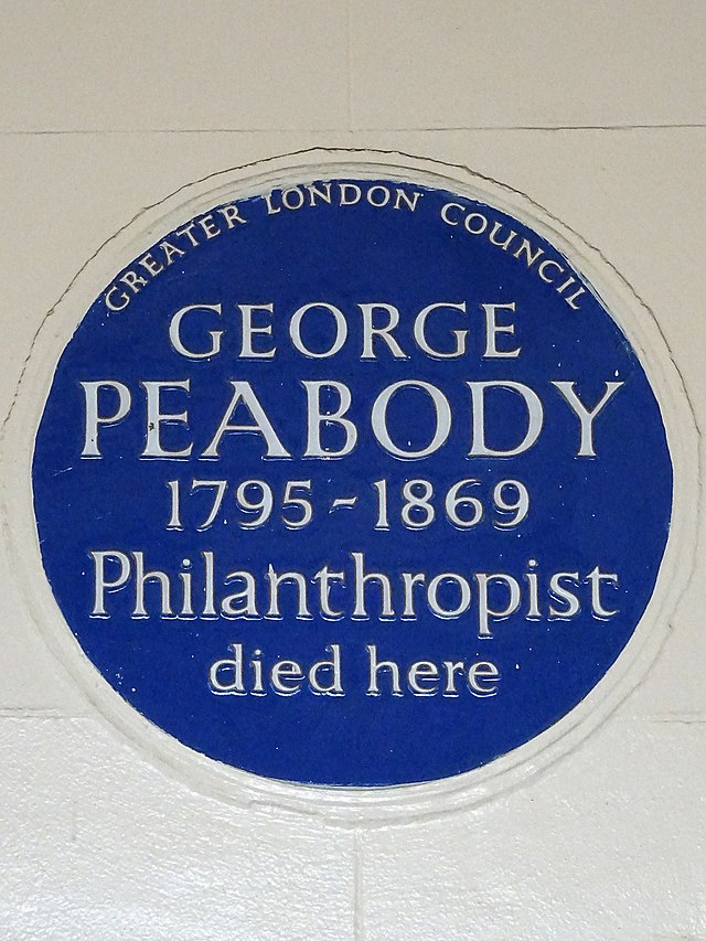 Photo of George Peabody blue plaque