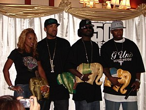 50 Cent - With Olivia, Lloyd Banks and Young Buck (left to right) in Bangkok, February 2006