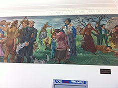 Galesburg, Il Post Office Mural, Breaking the Prairie-Log City-1837 by Aaron Bohrod (RS).JPG