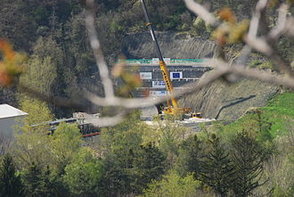 Brenner Base Tunnel - Start of the Tunnel boring machine at Aicha/Aica construction site in April 2008