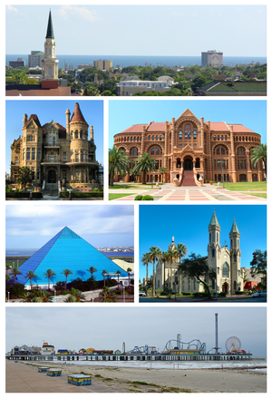 De supra maldekstro: Galveston-urbosilueto, la Palaco de Bishop, Ashbel Smith Building, Moody Gardens Aquarium, St. Mary Cathedral Basilica kaj Galveston Island Historic Pleasure Pier