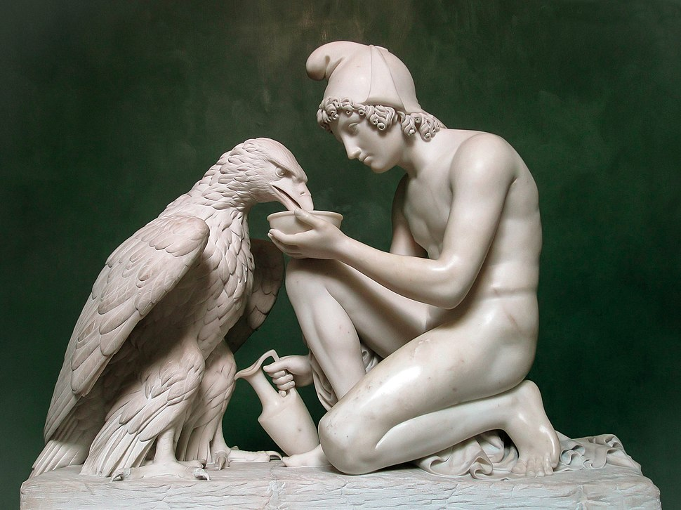 Ganymede Waters Zeus as an Eagle by Thorvaldsen