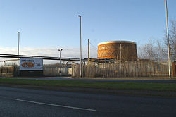 Gasometer beside the A49 - geograph.org.uk - 1102223