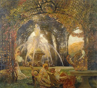Gaston La Touche - The Arbor, a frequently reproduced painting from c.1906, Walters Museum)