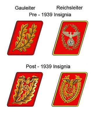 Gauleiter - The rank insignia for Gauleiter and Reichsleiter, before and after the 1939 insignia change.