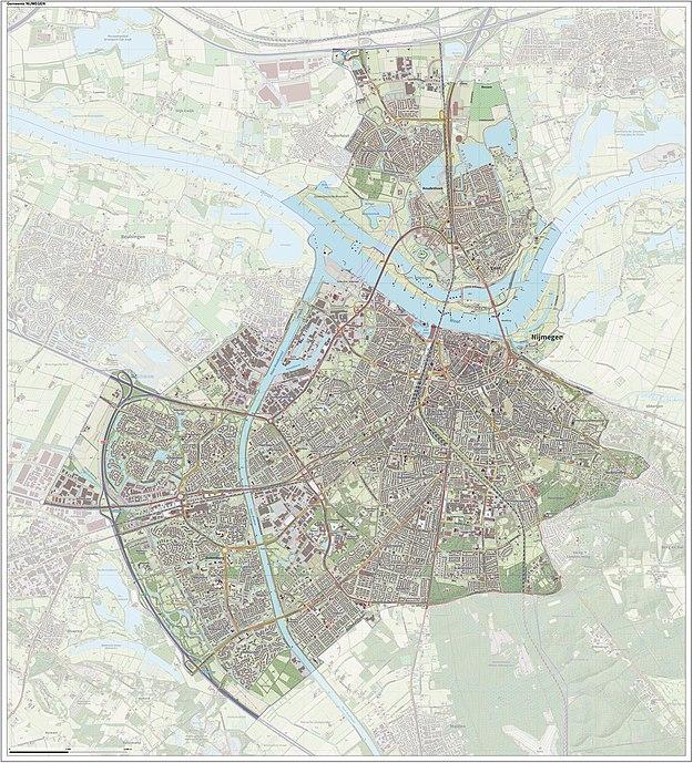 Topografisch kaartbeeld van de gemeente Nijmegen inclusief nieuwe Waalbrug