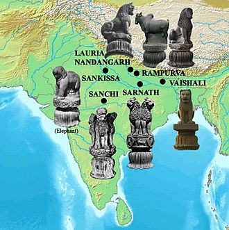 Pillars of Ashoka - Geographical spread of known pillar capitals.