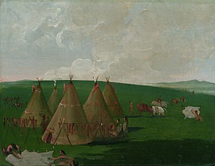 Sioux Encamped on the Upper Missouri, Dressing Buffalo Meat and Robes