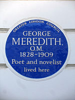 George Meredith O.M. 1828-1909 Poet and novelist lived here.JPG