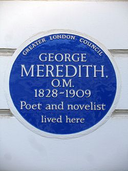 Photo of George Meredith blue plaque