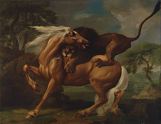 Whistlejacket - George Stubbs, A Lion Attacking a Horse, also painted in 1762; one of many treatments of this subject by Stubbs