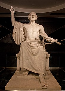 Statue of Washington as classical Roman
