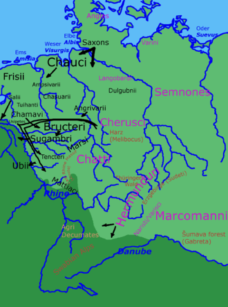 Bructeri - Some of the tribes in Germania during the period of the Roman empire. Arrows show directions of known movement.