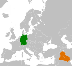 Map indicating locations of Germany and Iraq