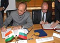 Ghulam Nabi Azad and the Minister of Health of the Republic of Bulgaria Dr. Stefan Konstantinov signing a Memorandum of Understanding on Health & Medicines to usher in new era of cooperation in health and medicines between.jpg