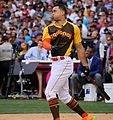 Giancarlo Stanton competes in semis of '16 T-Mobile -HRDerby. (28468359592).jpg