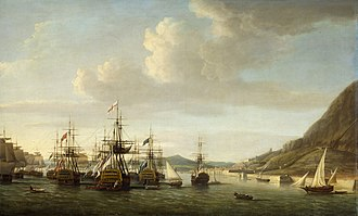 Great Siege of Gibraltar - Admiral George Rodney's relief fleet at Gibraltar with captured Spanish battleships from the Battle of Cape St Vincent, by Dominic Serres