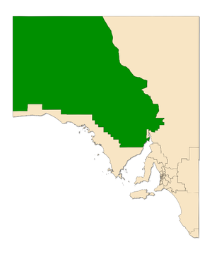 Electoral district of Giles - Electoral district of Giles (green) in South Australia