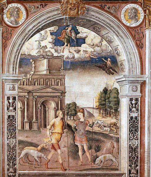 Giovanni Maria Falconetto, Mantua, Palazzo d'Arco, Sala dello Zodiaco, Sign of Aquarius
