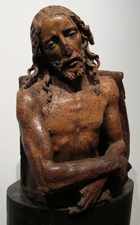 """""""Ecce Homo"""", sculpture en bois du musée Santa Chiara de Naples."""