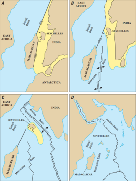 Four maps depicting the separation of Madagascar from India