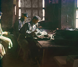 Kasli - Molding of an artistic casting. Production of artistic casting at the Kasli Iron Works, Sergey Prokudin-Gorsky Collection, (Library of Congress)