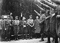 Gründung der Harzburger Front. Bad Harzburg 1931-10-11 Korsemann, Viktor Lutze, Hitler, Röhm, Göhring, Curt von Ulrich. Dietrich Klagges, salute SA Narodowe Archiwum Cyfrowe 3 1 0 17 12230 4 1 33588 Public domain.jpg