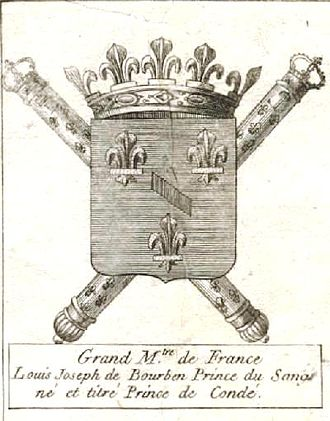 Louis Joseph, Prince of Condé - Grand Maître de France