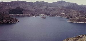 Great Barrier Island - Port Fitzroy from the top of Kaikoura Island (previously Selwyn Island), 1967.