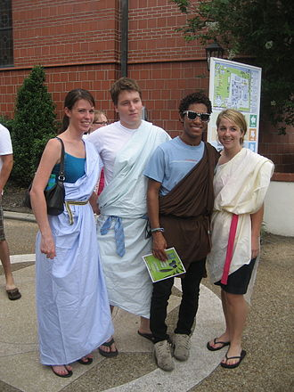 Toga party - Attendees in various colored togas