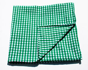 Gingham - Gingham cloth with green and white checks
