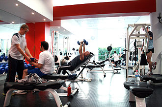 Health club - Free-weights area at a health club