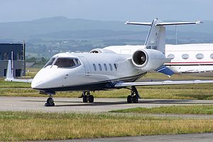 Learjet 60 - A Learjet 60 parked at Glasgow airport