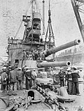 HMS Agamemnon (1906) 12-inch gun replacement at Malta 1915.jpg