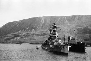 HMS Barham (04) - Barham refuelling in Souda Bay, February 1941