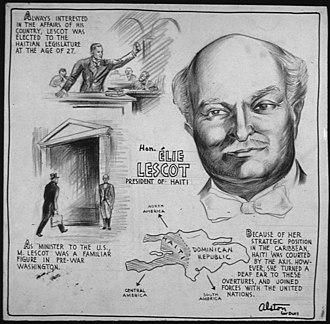 Élie Lescot - Poster from U.S. Office of War Information. Domestic Operations Branch. News Bureau, 1943